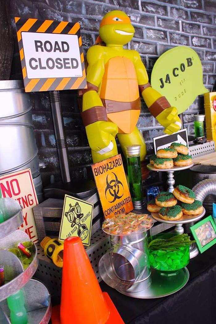Decor + Sweets from a Teenage Mutant Ninja Turtles Party via Kara's Party Ideas | KarasPartyIdeas.com (4)