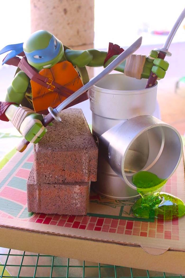Leonardo TMNT Table Centerpiece from a Teenage Mutant Ninja Turtles Party via Kara's Party Ideas | KarasPartyIdeas.com (31)
