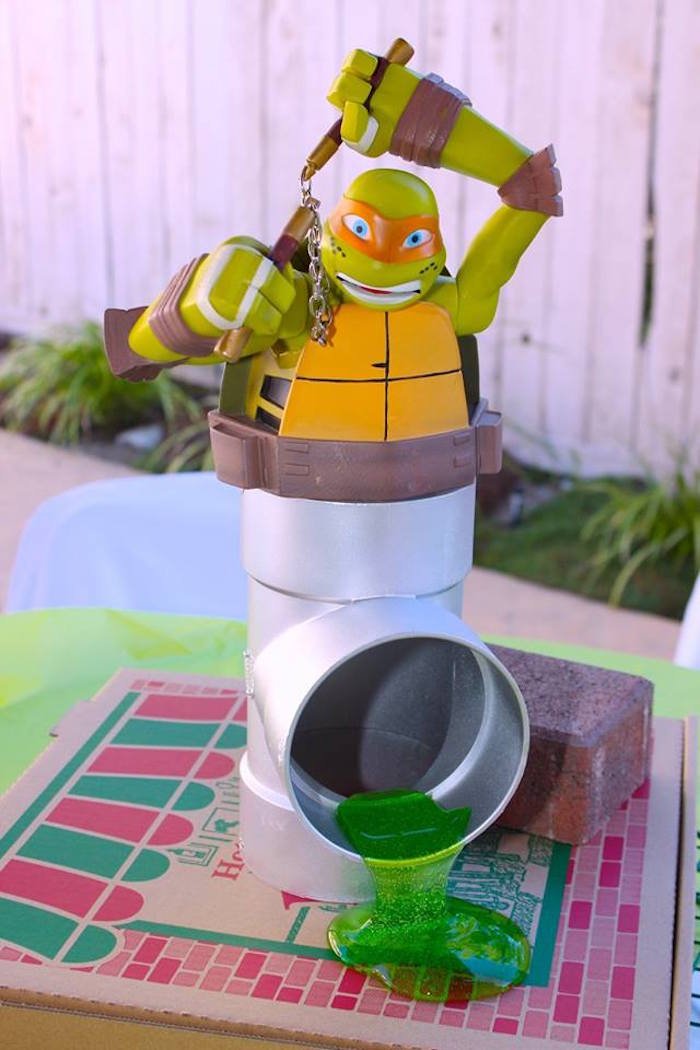 Michelangelo Table Centerpiece from a Teenage Mutant Ninja Turtles Party via Kara's Party Ideas | KarasPartyIdeas.com (30)