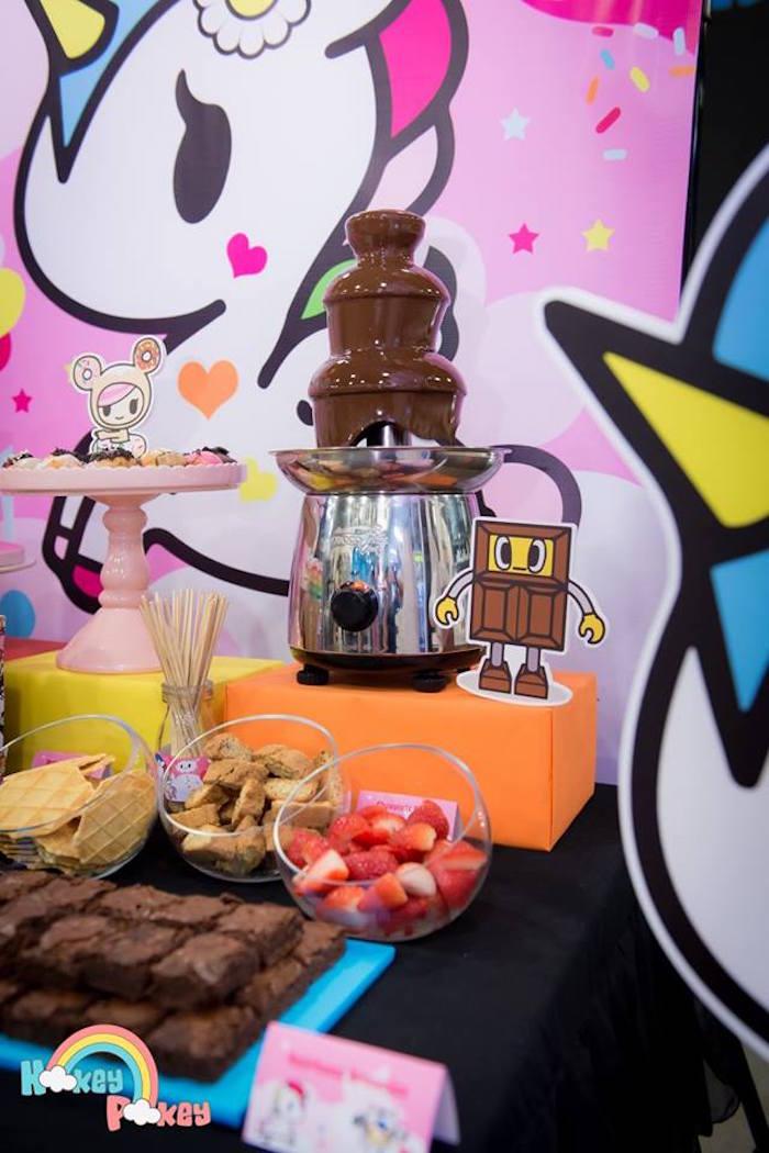 Chocolate Fountain from a Tokidoki Unicorno Themed Birthday Party via Kara's Party Ideas   KarasPartyIdeas.com (5)