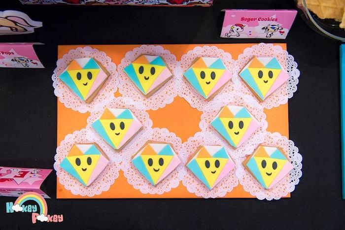 Diamante Sugar Cookies from a Tokidoki Unicorno Themed Birthday Party via Kara's Party Ideas   KarasPartyIdeas.com (4)