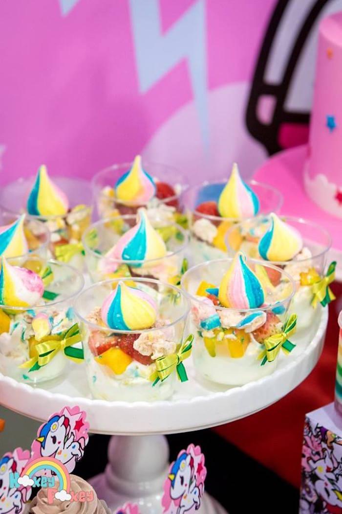 Fruit Dessert Cups from a Tokidoki Unicorno Themed Birthday Party via Kara's Party Ideas   KarasPartyIdeas.com (20)