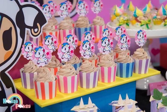 Cupcakes from a Tokidoki Unicorno Themed Birthday Party via Kara's Party Ideas   KarasPartyIdeas.com (13)