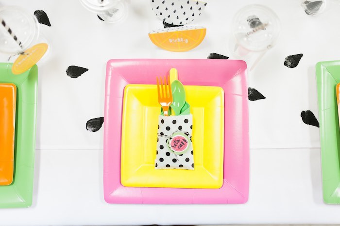 Place Setting from a Tutti Frutti Birthday Party via Kara's Party Ideas | KarasPartyIdeas.com (21)