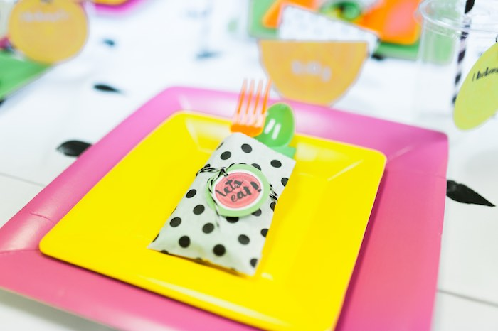 Place Setting from a Tutti Frutti Birthday Party via Kara's Party Ideas | KarasPartyIdeas.com (20)