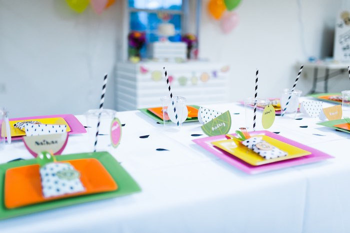 Dining Table Details from a Tutti Frutti Birthday Party via Kara's Party Ideas | KarasPartyIdeas.com (18)