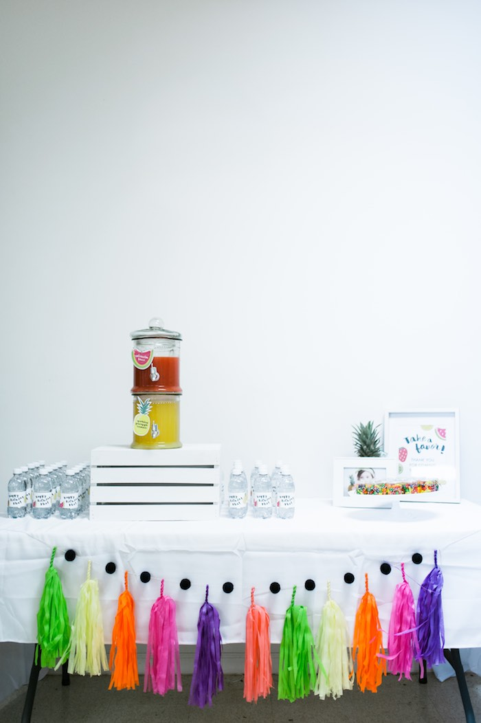 Drink + Favor Table from a Tutti Frutti Birthday Party via Kara's Party Ideas | KarasPartyIdeas.com (13)