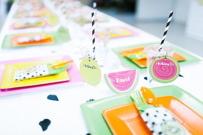 Place Setting from a Tutti Frutti Birthday Party via Kara's Party Ideas | KarasPartyIdeas.com (12)