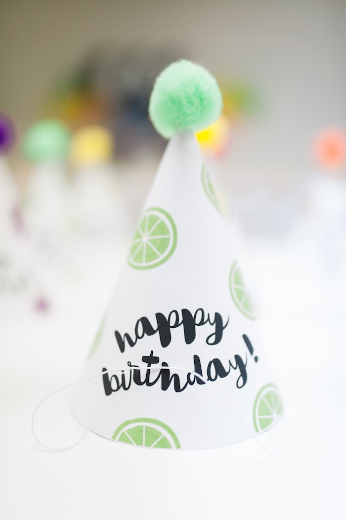Party Hat from a Tutti Frutti Birthday Party via Kara's Party Ideas | KarasPartyIdeas.com (10)