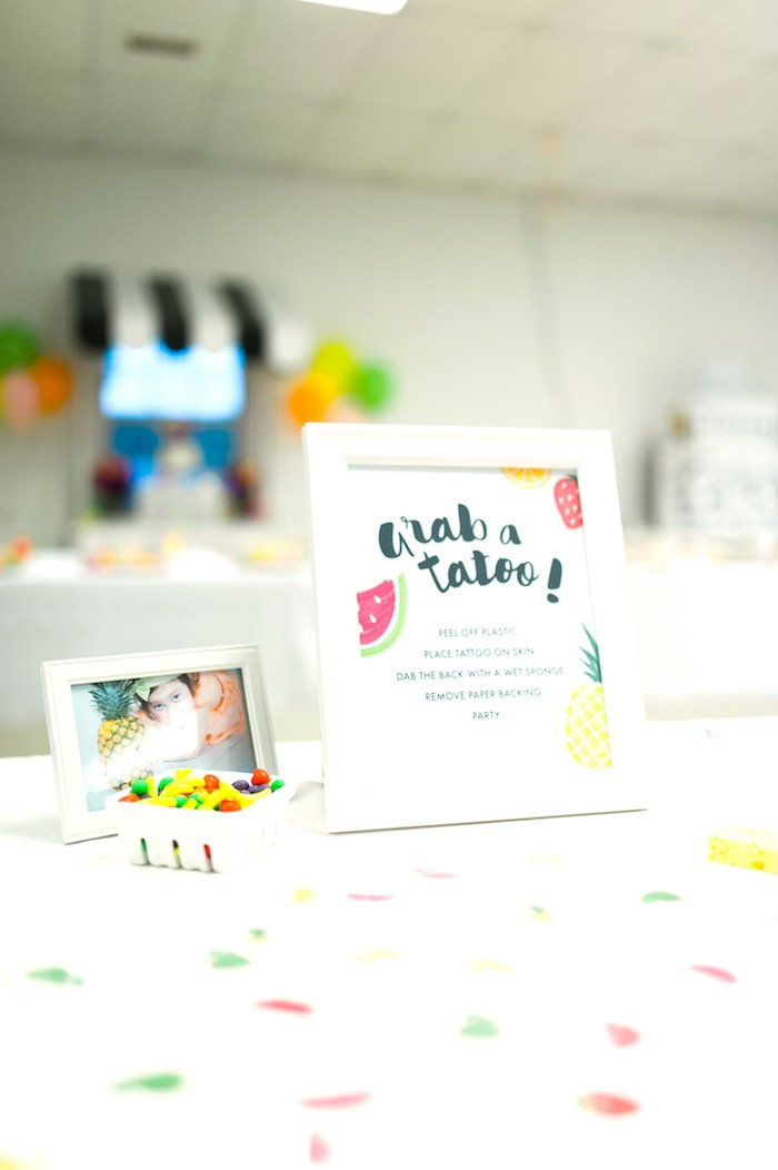 Temporary Tattoo Table from a Tutti Frutti Birthday Party via Kara's Party Ideas | KarasPartyIdeas.com (9)