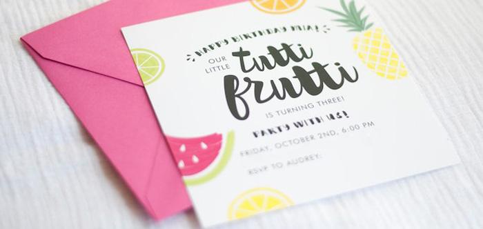 Invitation from a Tutti Frutti Birthday Party via Kara's Party Ideas | KarasPartyIdeas.com (2)