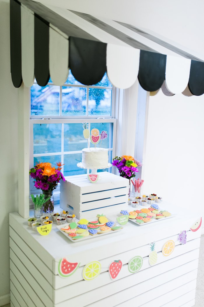 Cake + Sweet Table from a Tutti Frutti Birthday Party via Kara's Party Ideas | KarasPartyIdeas.com (28)