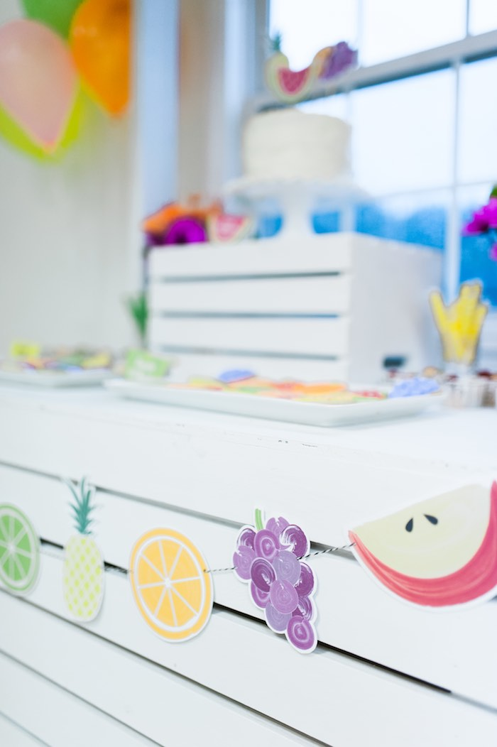 Fruit Banner from a Tutti Frutti Birthday Party via Kara's Party Ideas | KarasPartyIdeas.com (23)