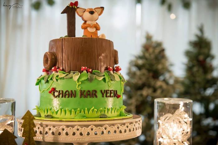 Cake from a Woodland Animal Birthday Party via Kara's Party Ideas | KarasPartyIdeas.com | The Place for All Things Party! (9)