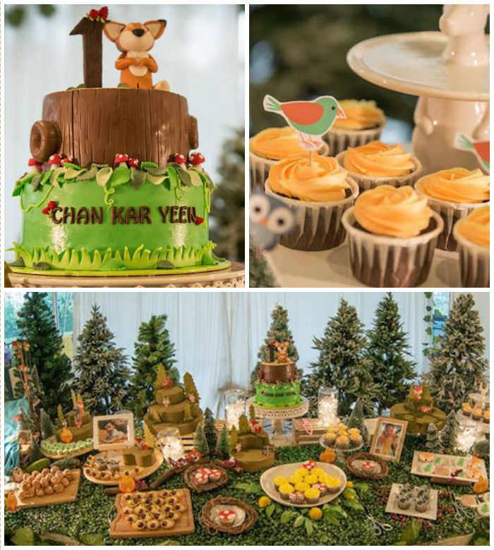 Kara 39 s party ideas woodland animal birthday party kara 39 s for Animal party decoration