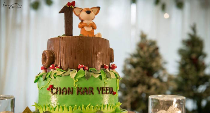 Cake from a Woodland Animal Birthday Party via Kara's Party Ideas | KarasPartyIdeas.com | The Place for All Things Party! (1)