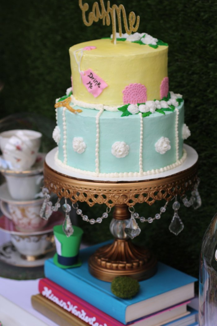 Cake from an Alice In Wonderland Dessert Table via Kara's Party Ideas | KarasPartyIdeas.com (13)
