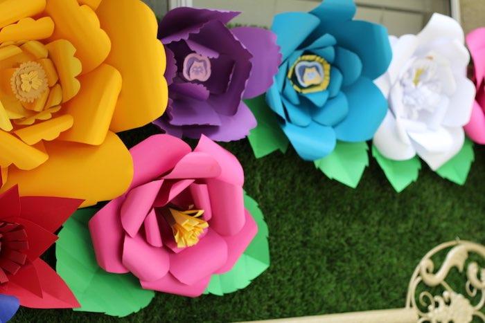 Paper Flower Backdrop from an Alice In Wonderland Dessert Table via Kara's Party Ideas | KarasPartyIdeas.com (11)