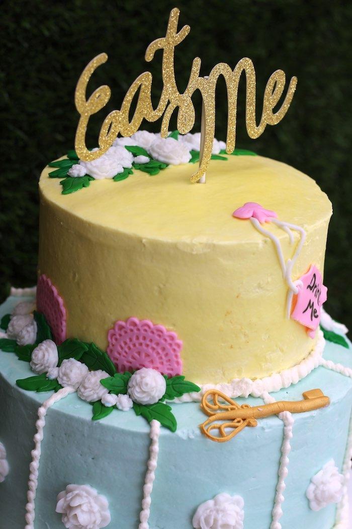 Cake Detail from an Alice In Wonderland Dessert Table via Kara's Party Ideas | KarasPartyIdeas.com (10)