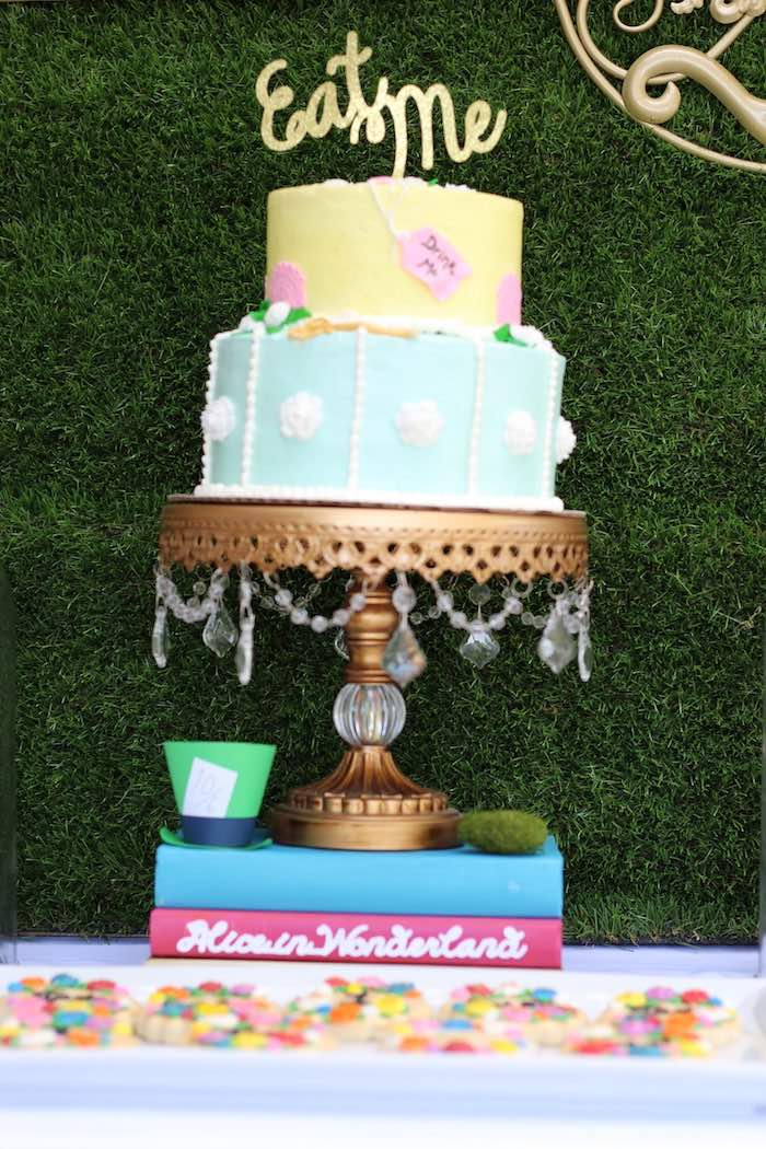 Cake from an Alice In Wonderland Dessert Table via Kara's Party Ideas | KarasPartyIdeas.com (9)