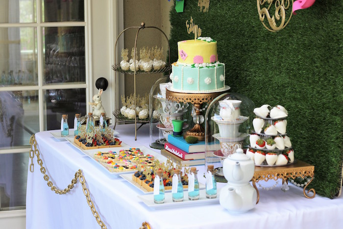 Sweet Table Details from an Alice In Wonderland Dessert Table via Kara's Party Ideas | KarasPartyIdeas.com (8)