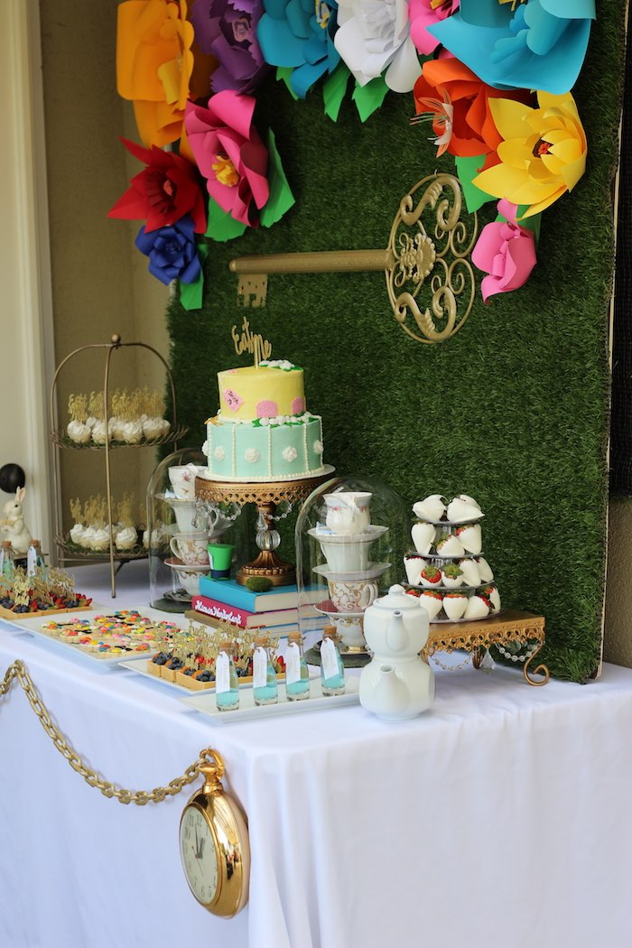 Side-view of an Alice In Wonderland Dessert Table via Kara's Party Ideas | KarasPartyIdeas.com (7)