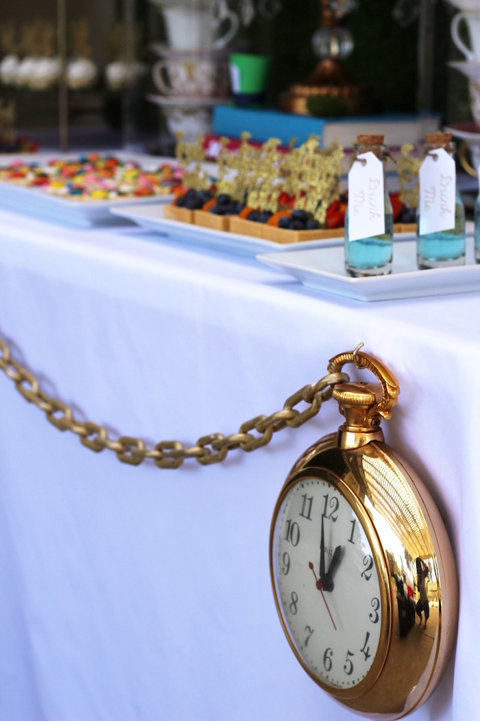 Giant Pocket Watch Table Bunting from an Alice In Wonderland Dessert Table via Kara's Party Ideas | KarasPartyIdeas.com (6)
