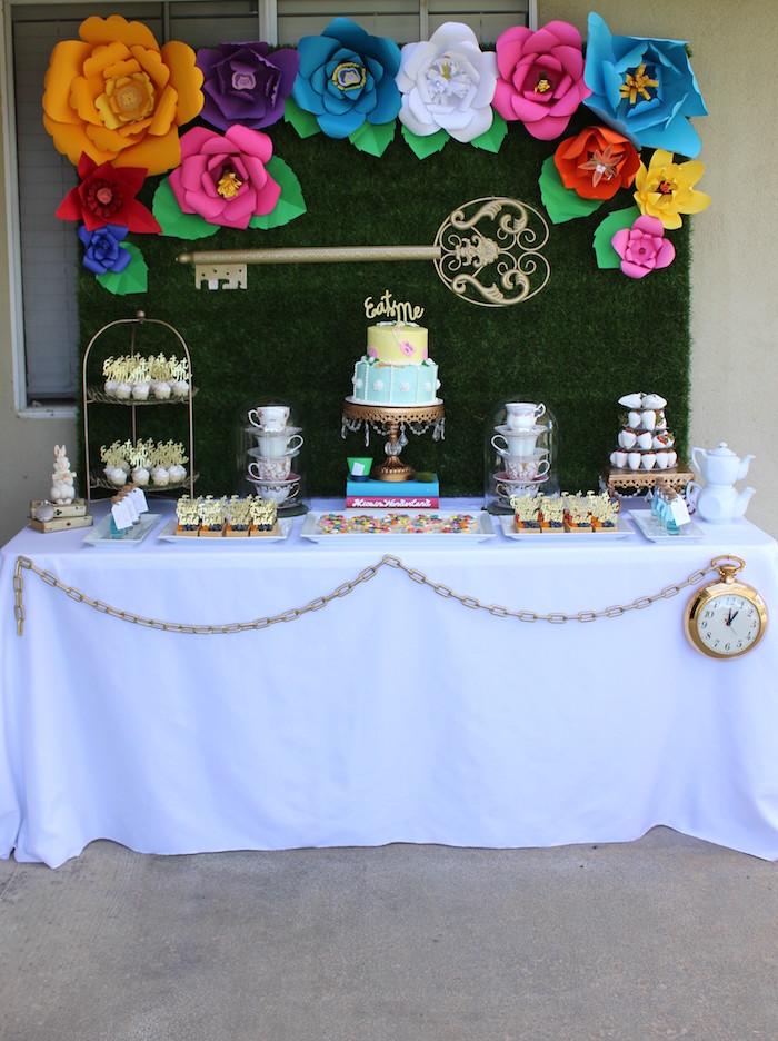Full Dessert Table from an Alice In Wonderland Dessert Table via Kara's Party Ideas | KarasPartyIdeas.com (5)