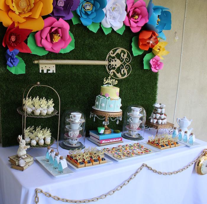 Sweet Table Details from an Alice In Wonderland Dessert Table via Kara's Party Ideas | KarasPartyIdeas.com (4)