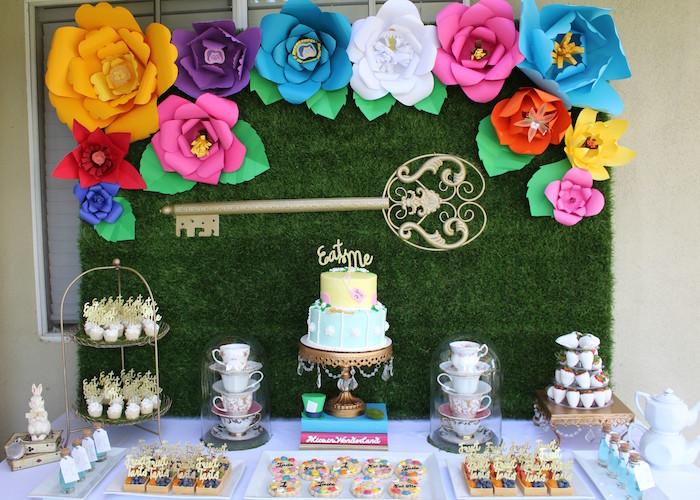 Close-up Shot of an Alice In Wonderland Dessert Table via Kara's Party Ideas | KarasPartyIdeas.com (3)