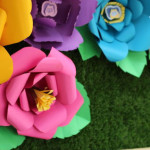 Paper Flower Backdrop from an Alice In Wonderland Dessert Table via Kara's Party Ideas | KarasPartyIdeas.com (1)