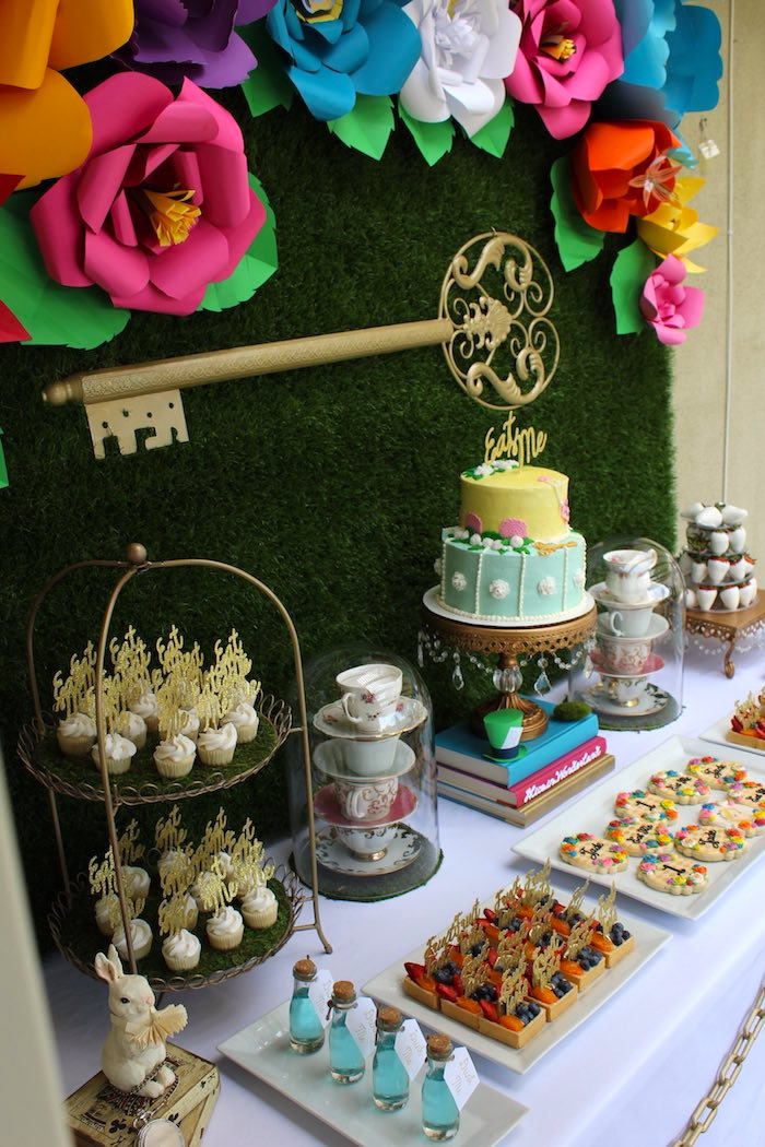 Kara 39 s party ideas alice in wonderland dessert table - Alice in the wonderland party decorations ...