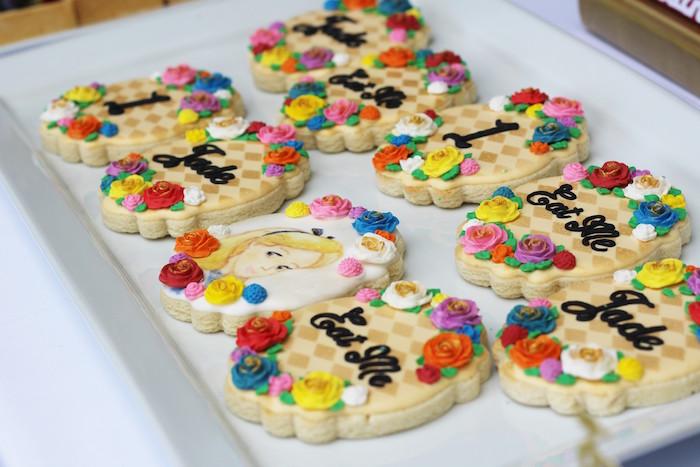 Cookies from an Alice In Wonderland Dessert Table via Kara's Party Ideas | KarasPartyIdeas.com (17)