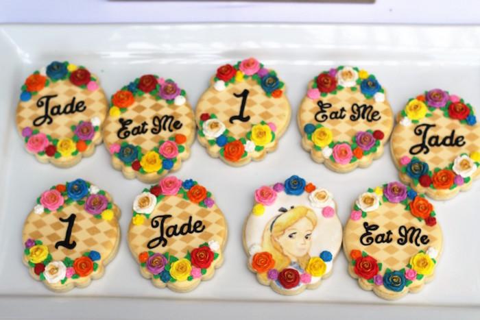 Cookies from an Alice In Wonderland Dessert Table via Kara's Party Ideas | KarasPartyIdeas.com (16)