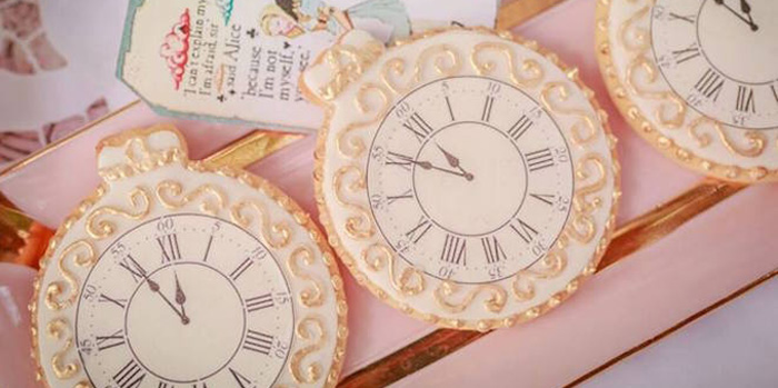 Stopwatch Cookies from an Alice in Wonderland Tea Party via Kara's Party Ideas | KarasPartyIdeas.com (3)