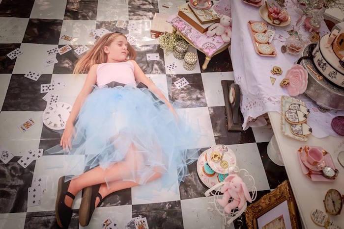 Sleeping Alice from an Alice in Wonderland Tea Party via Kara's Party Ideas   KarasPartyIdeas.com (17)