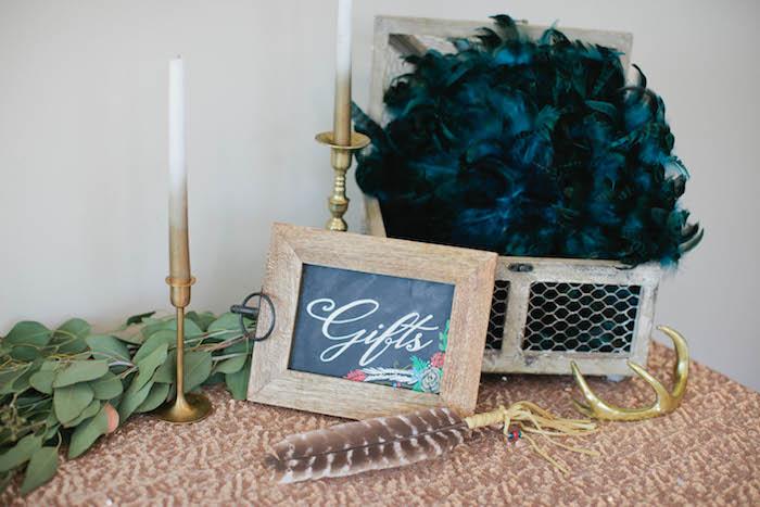 Gift Table Details + Decor from a Boho Baby Shower via Kara's Party Ideas | KarasPartyIdeas.com (62)