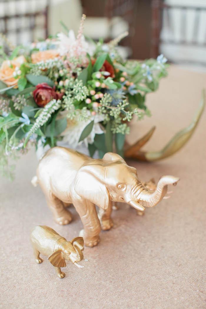 Gold Elephant Centerpieces from a Boho Baby Shower via Kara's Party Ideas | KarasPartyIdeas.com (54)