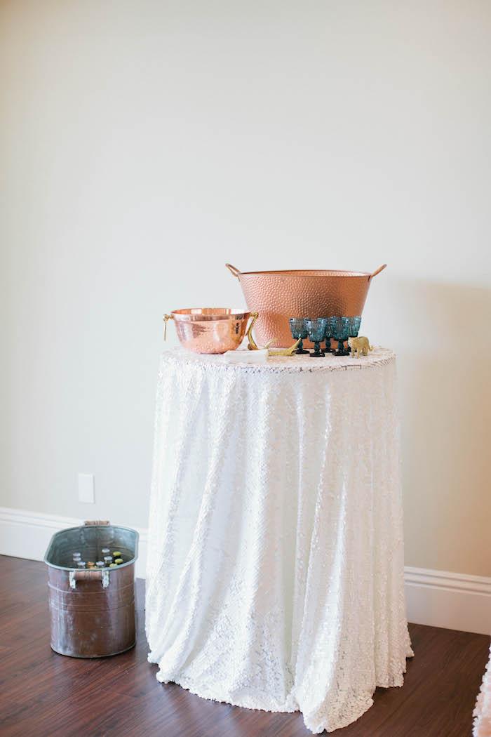 Drink Table from a Boho Baby Shower via Kara's Party Ideas | KarasPartyIdeas.com (49)