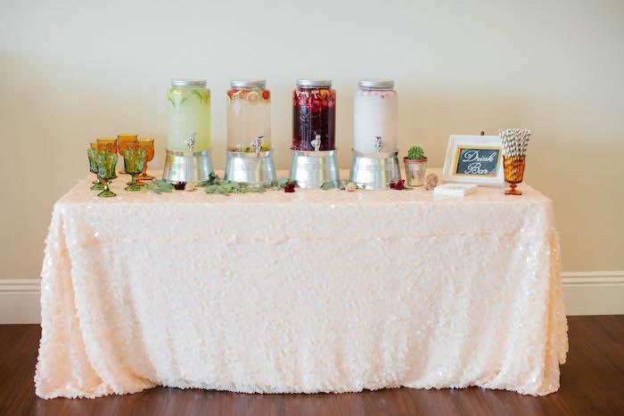 Drink Bar from a Boho Baby Shower via Kara's Party Ideas | KarasPartyIdeas.com (43)