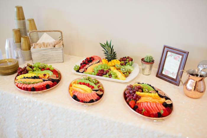 Fruit Bar from a Boho Baby Shower via Kara's Party Ideas | KarasPartyIdeas.com (34)