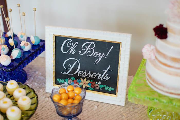 Chalkboard Table Sign from a Boho Baby Shower via Kara's Party Ideas | KarasPartyIdeas.com (26)
