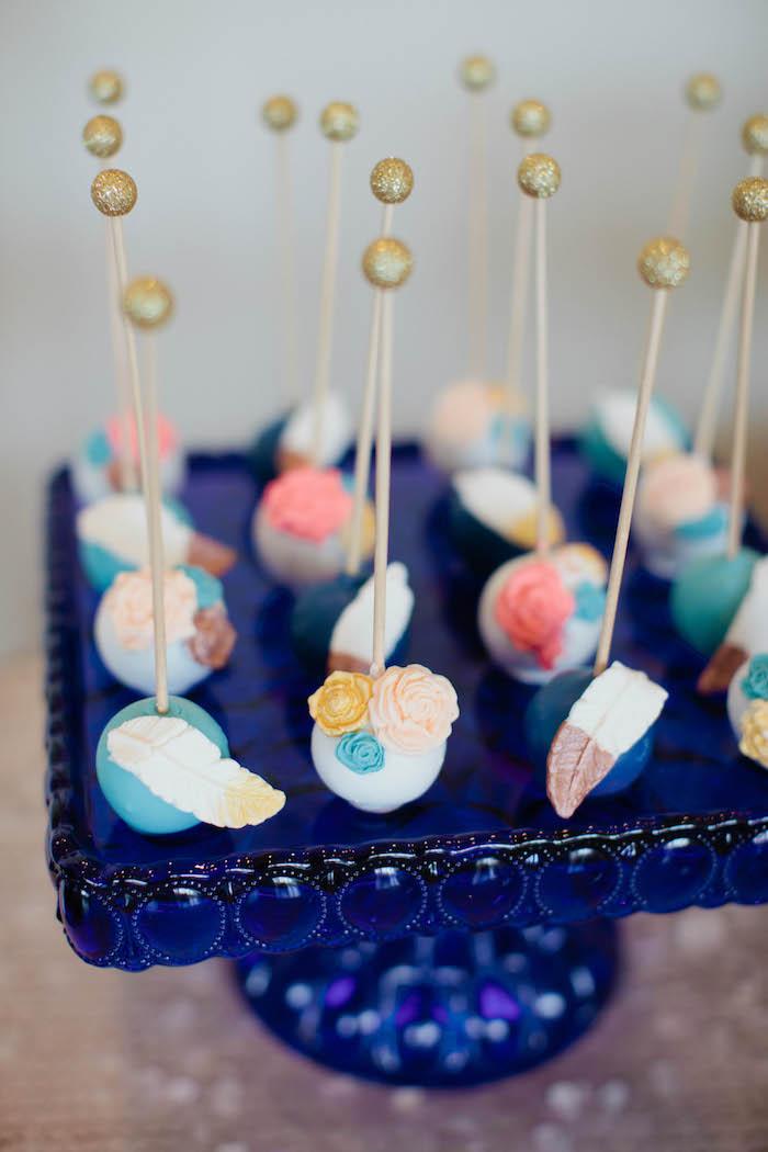 Cake Pops from a Boho Baby Shower via Kara's Party Ideas | KarasPartyIdeas.com (24)