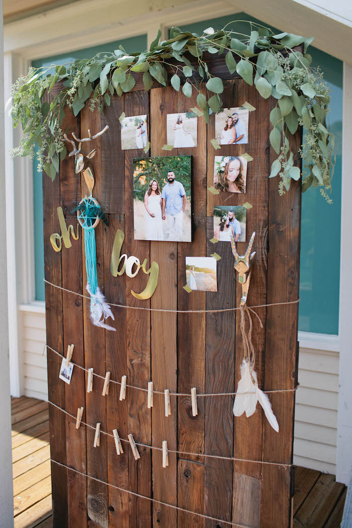 photo backdrop from a boho baby shower via kara 39 s party ideas