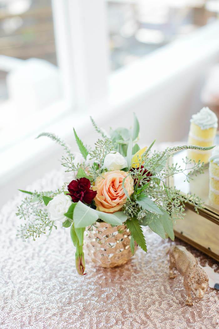 floral arrangement from a boho baby shower via kara 39 s party ideas