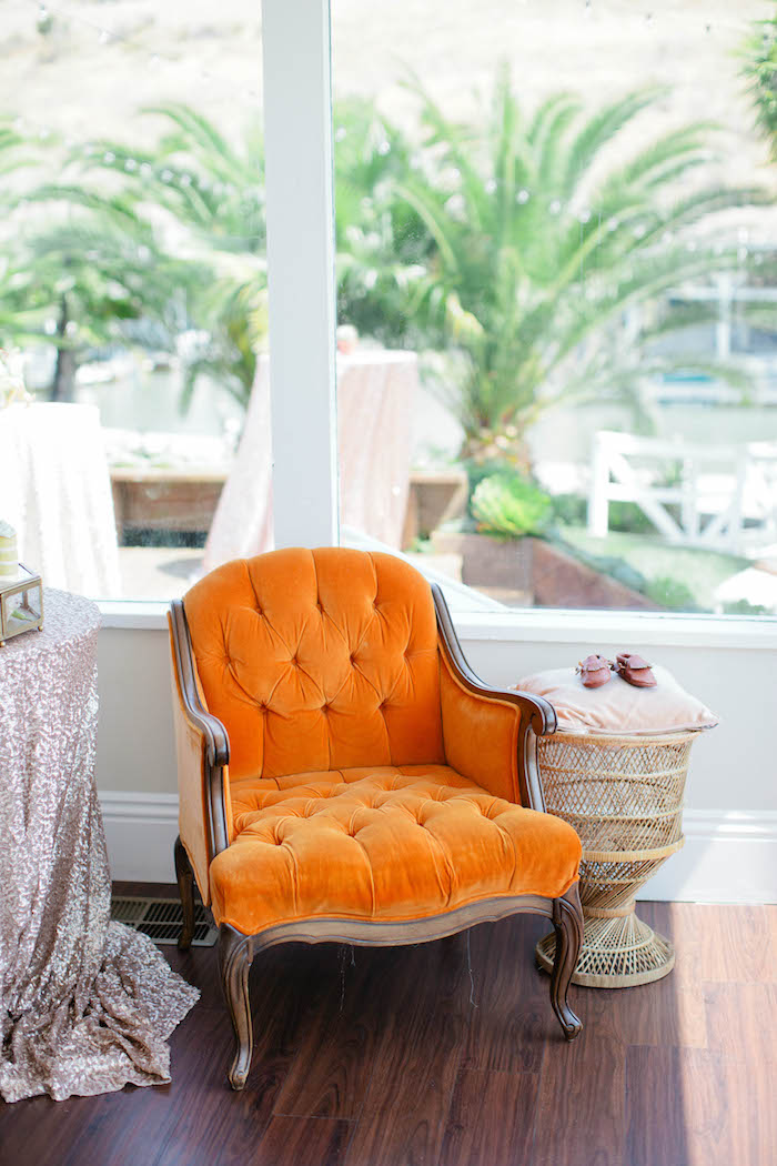 Chair + Decor from a Boho Baby Shower via Kara's Party Ideas | KarasPartyIdeas.com (12)