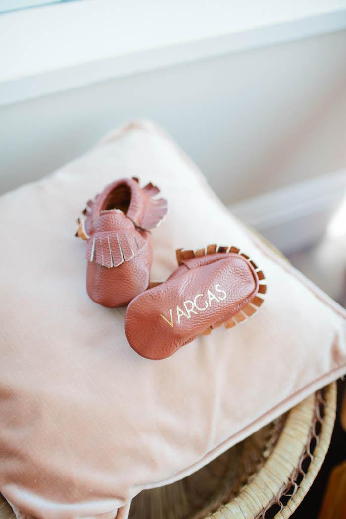 Baby Moccasins from a Boho Baby Shower via Kara's Party Ideas | KarasPartyIdeas.com (11)