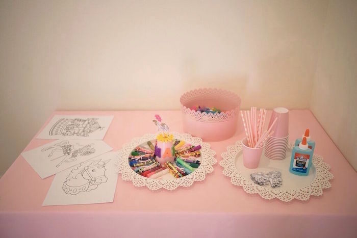 Craft Table from a Pink Carousel Birthday Party via Kara's Party Ideas! KarasPartyIdeas.com