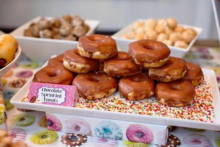 Chocolate Sprinkled Donuts from a Donut Themed Birthday Party via Kara's Party Ideas! KarasPartyIdeas.com (26)