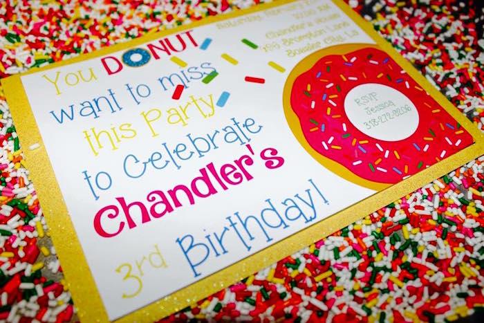 Invitation from a Donut Themed Birthday Party via Kara's Party Ideas! KarasPartyIdeas.com (25)